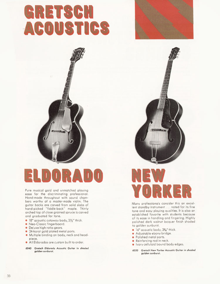 1968 Gretsch guitar catalog page 33 - Gretsch Eldorado 6040 and New Yorker 6050