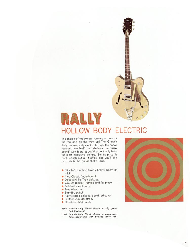 1968 Gretsch guitars and amplifiers catalogue page 35 - 6104/6105 Rally