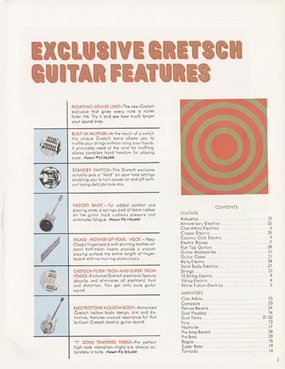 1968 Gretsch electric guitars and amplifiers catalogue page 3