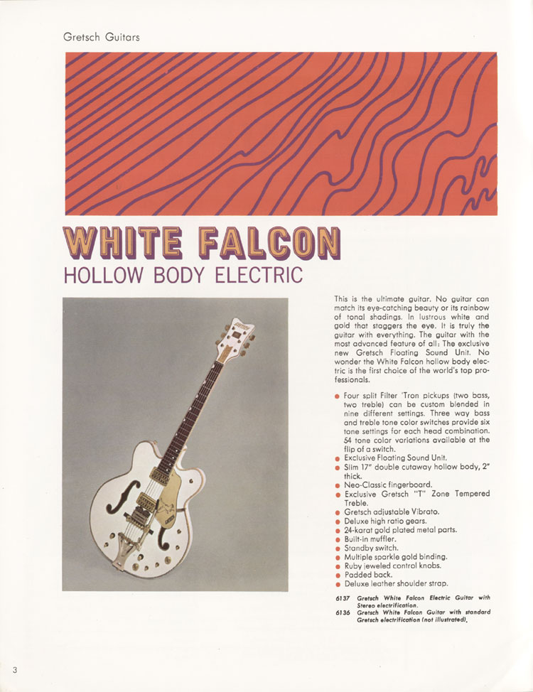 1968 Gretsch guitars and amplifiers catalogue. Page 4 - details of the Gretsch White Falcon
