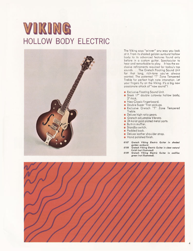 1968 Gretsch guitars and amplifiers catalogue. Page 5 - details of the Gretsch Viking