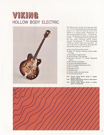 1968 Gretsch electric guitars and amplifiers catalogue page 5