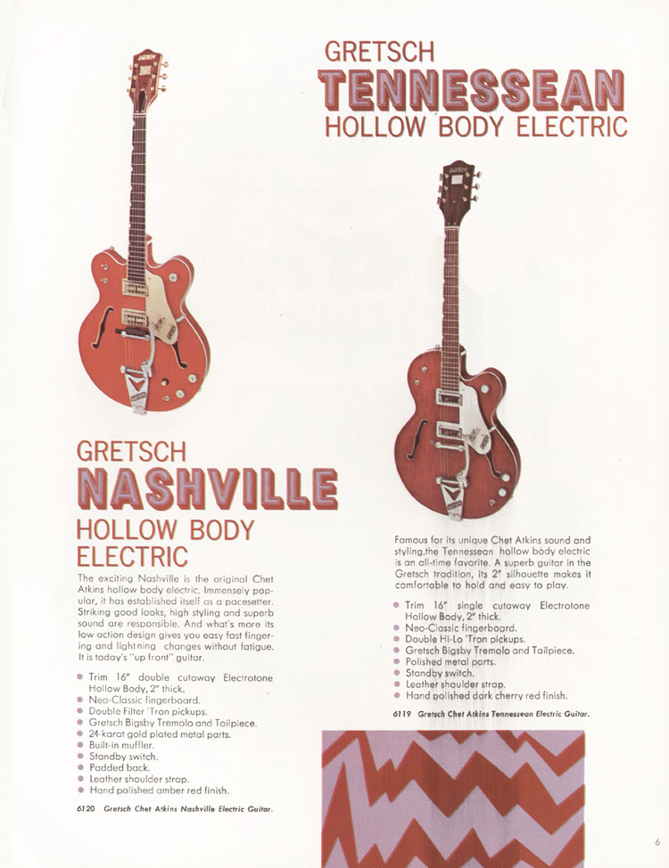 1968 Gretsch guitars and amplifiers catalogue page 7 - 6119 Tennessean and 6120 Nashville