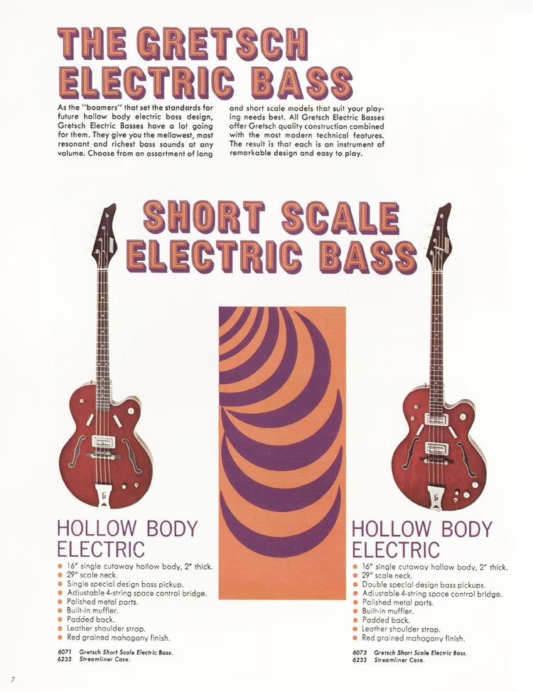 1968 Gretsch guitar catalog page 7 - details of the Gretsch 6071 and 6073 hollow body basses