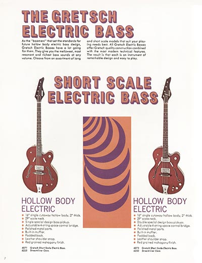 1968 Gretsch electric guitars and amplifiers catalogue page 8