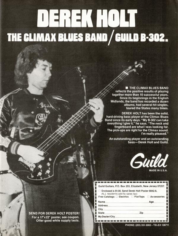 Guild advertisement (1981) Derek Holt. Climax Blues Band / Guild B-302