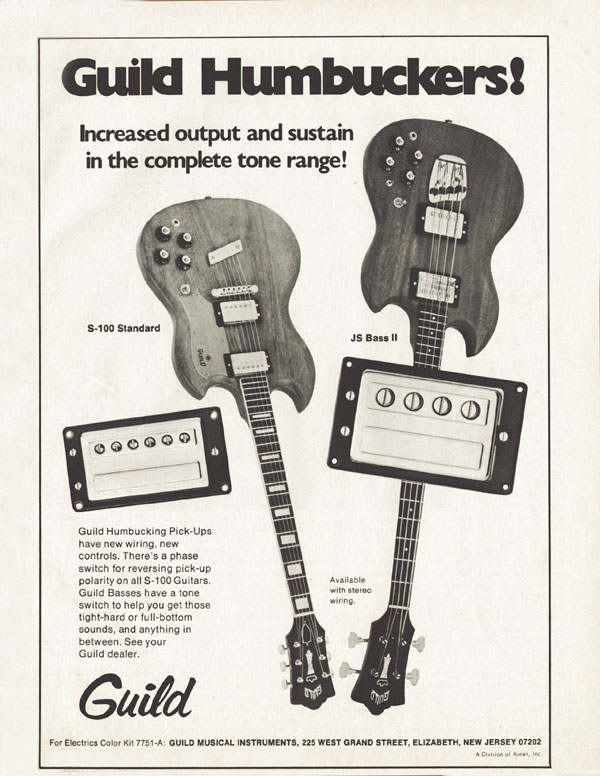 Guild advertisement (1974) Guild Humbuckers