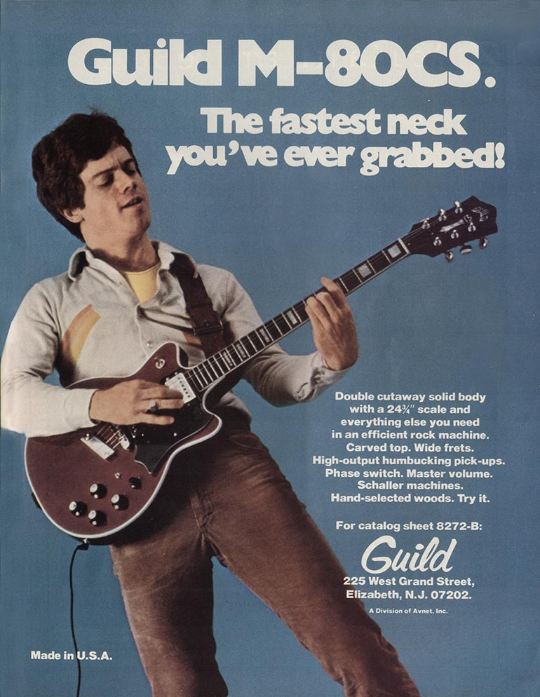 Guild advertisement (1976) Guild M-80CS. The fastest neck you