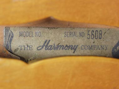 Harmony H27 Bass serial number within body cavity