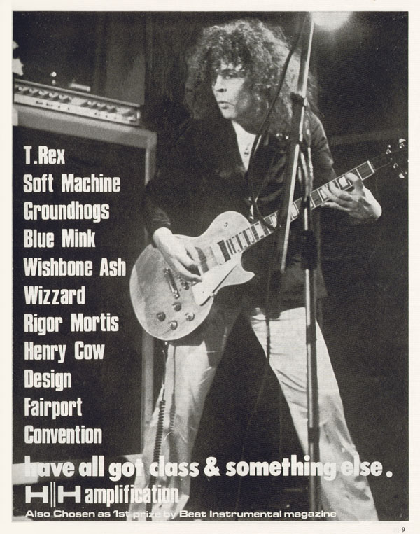 HH advertisement (1974) Class and Something Else. HH amplification