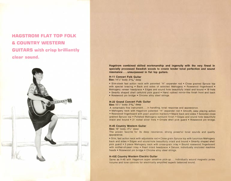 1966 Hagstrom guitar catalogue page 12 - H11, H22, H45 and H45E acoustic guitars