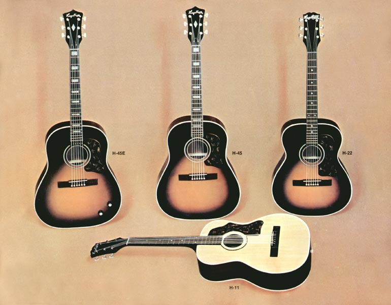 1966 Hagstrom guitar catalogue page 13 - H11, H22, H45 and H45E acoustic guitars
