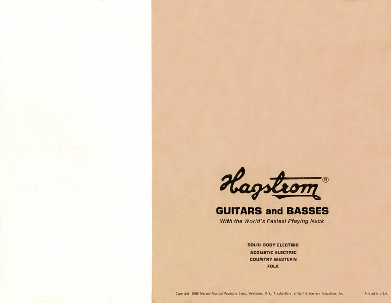 1966 Hagstrom guitar catalog back cover
