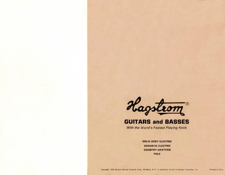 1966 Hagstrom guitar catalog back cover