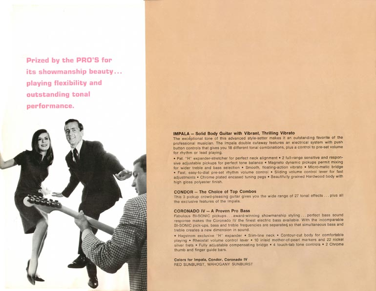 1966 Hagstrom guitar catalogue page 8 - Impala and Condor guitars and the Coronado IV bass
