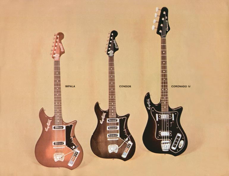 1966 Hagstrom guitar catalogue page 9 - Impala and Condor guitars and the Coronado IV bass