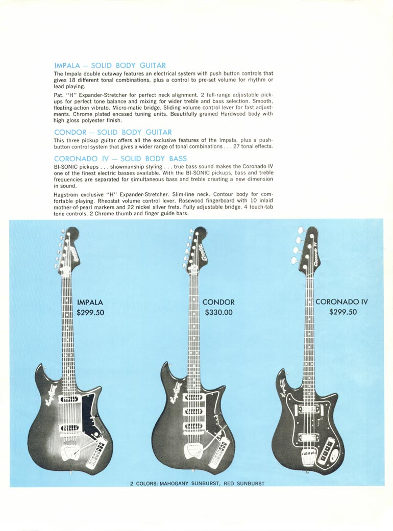 1968 Hagstrom guitar catalogue page 5 - details of the Hagstrom Impala and Condor guitars and the Coronado IV bass