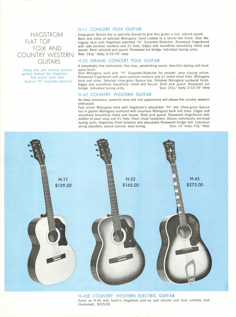 1968 Hagstrom guitar catalogue page 6 - H11, H22 and H45 acoustic guitars