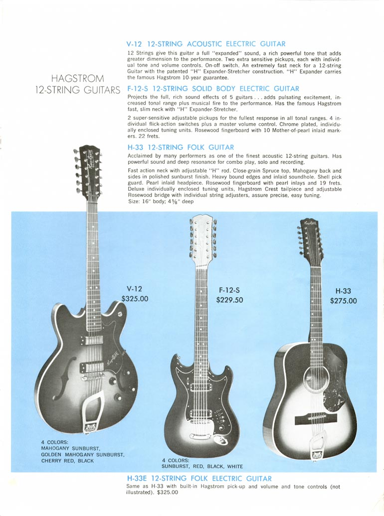 1968 Hagstrom guitar catalogue page 7 - V-12, F-12-S and the H33 twelve string guitars