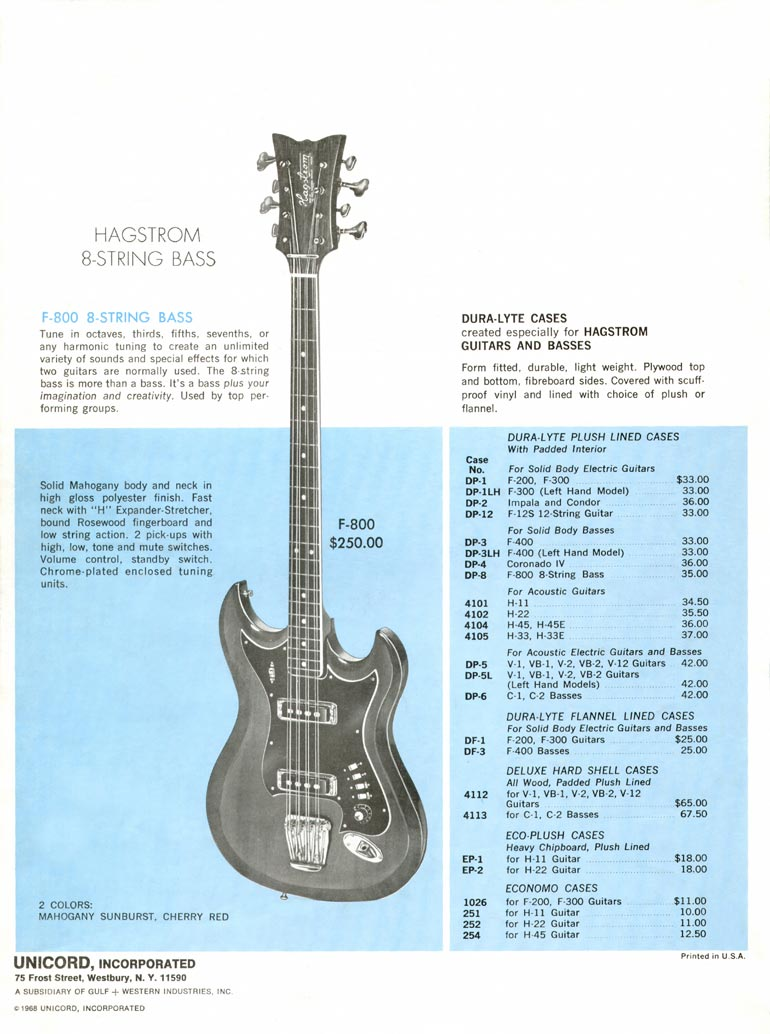 1968 Hagstrom guitar catalogue page 8 - Hagstrom F-800 eight string bass guitar