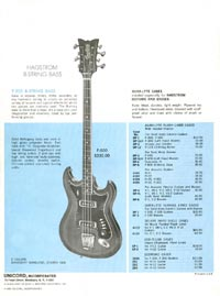 1968 Hagstrom guitar catalogue back cover