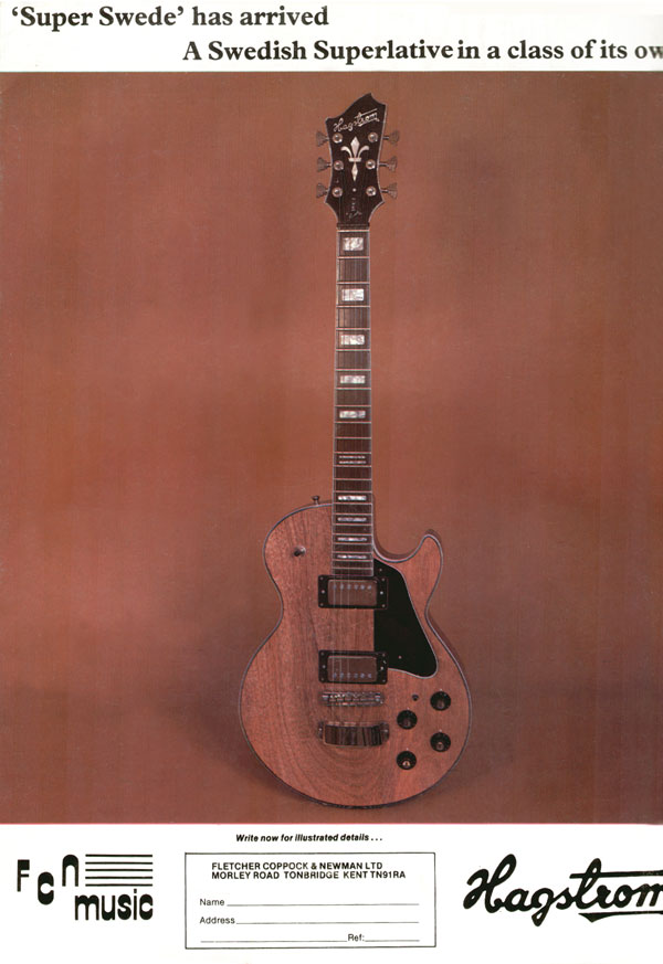 Hagstrom advertisement (1979) Super Swede has arrived