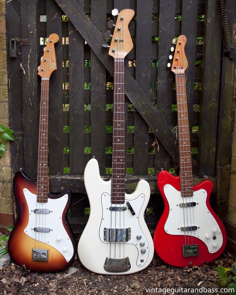 JMI Vox bass guitars: 1963 Bassmaster, 1966 Symphonic bass, 1965 Clubman bass
