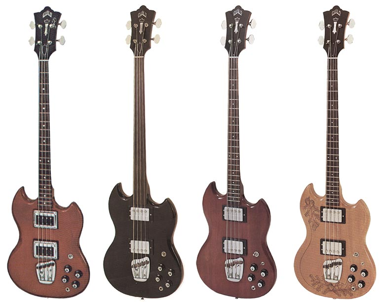 Guild JS basses, from left to right: (1) 1970 JS bass 2 with the old-style Hagstrom pickups (2) JS bass 2 fretless, black (3) JS bass 2, cherry (4) JS bass 2, natural with carved top