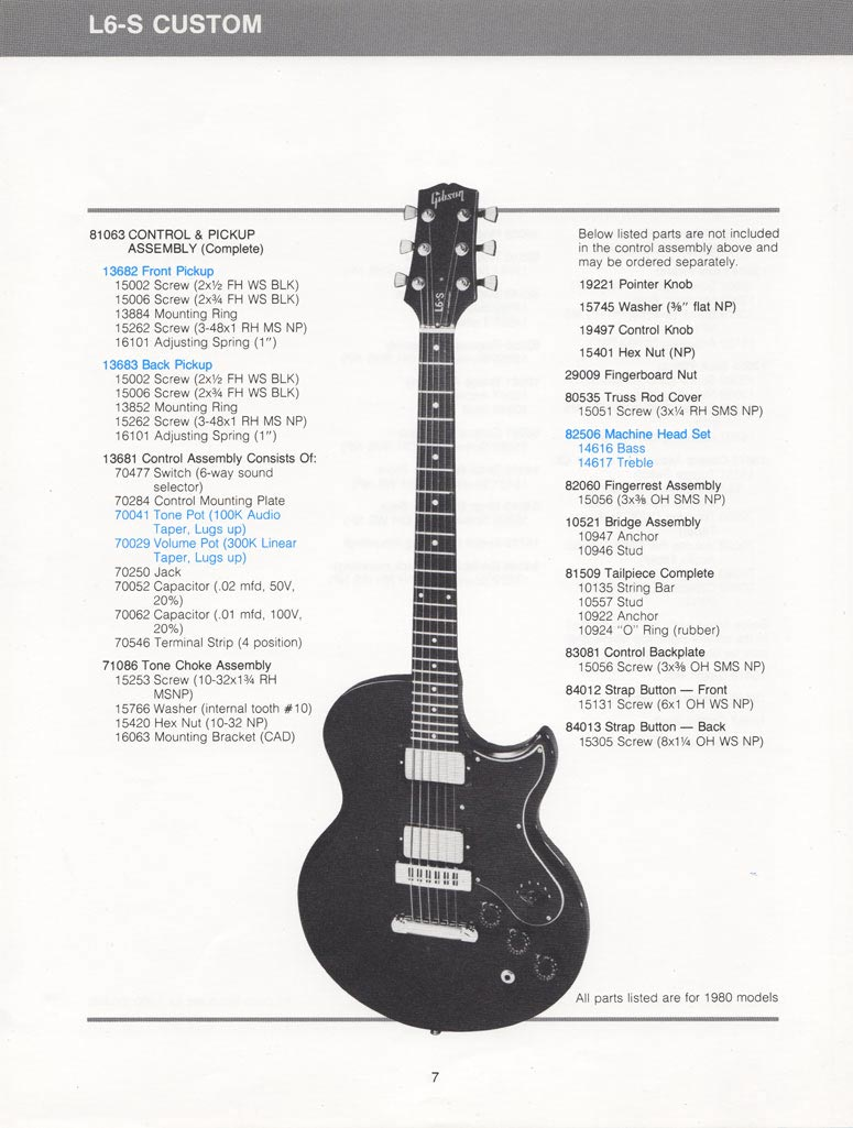 Gibson L6 S Schematics Parts Lists Vintage Guitar And Bass Wiring Diagram Custom List