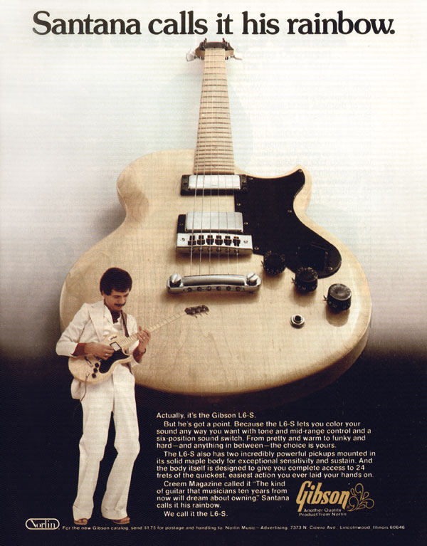 Gibson advertisement (1976) Santana Calls It his Rainbow