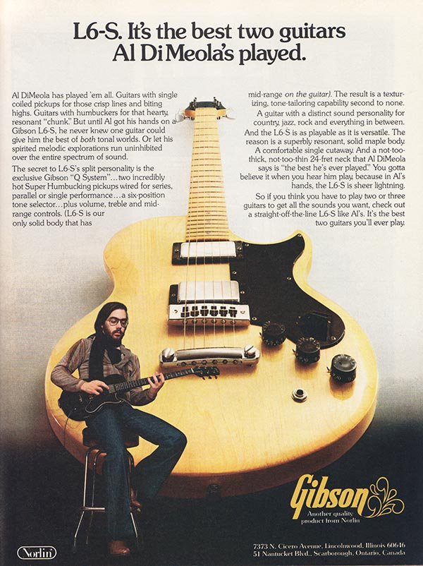 Gibson advertisement (1977) L6-S. It