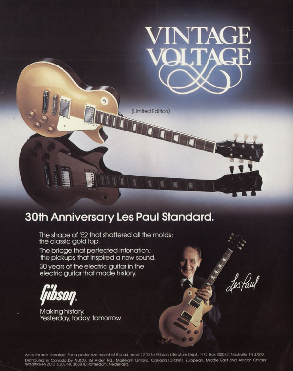 Gibson advertisement (1982) Vintage Voltage. 30th Anniversary Les Paul Standard