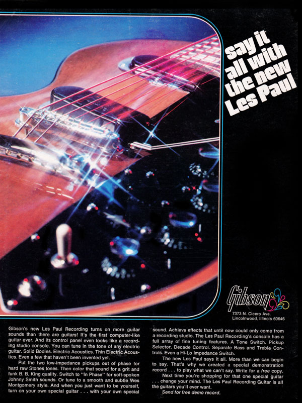Gibson advertisement (1972) Say it All With the New Les Paul
