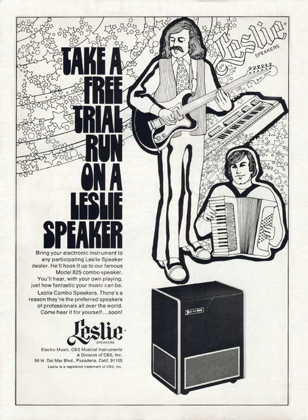 Leslie advertisement (1973) Take  a Free Trial Run on a Leslie Speaker