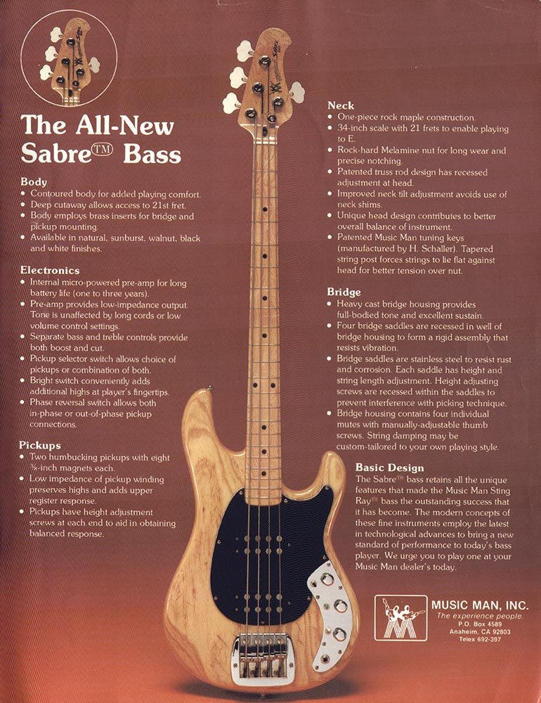 Music Man advertisement (1979) The All New Sabre Bass