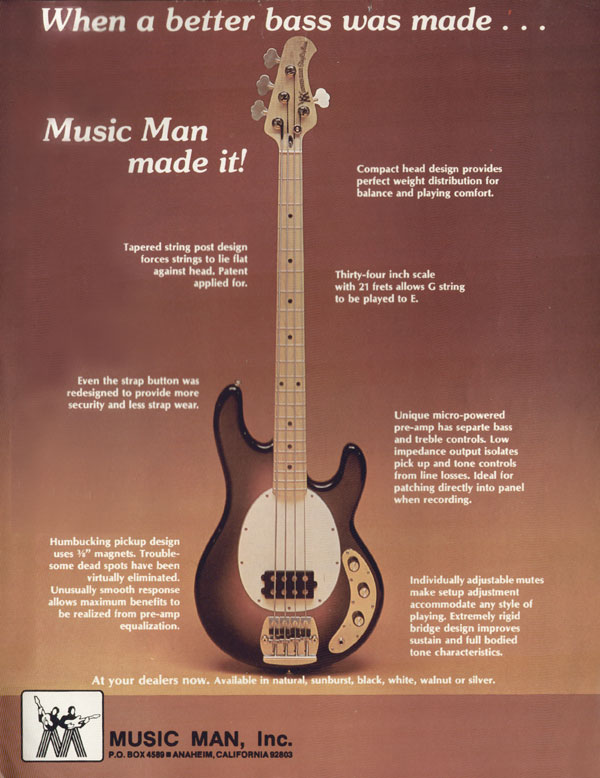 Music Man advertisement (1977) When A Better Bass Was Made... Music Man Made It