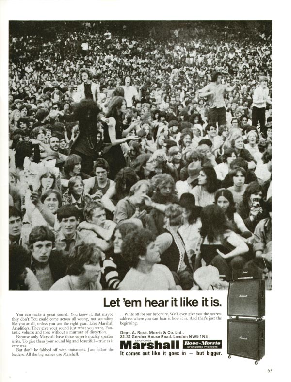 Marshall advertisement (1971) Let em hear it like it is