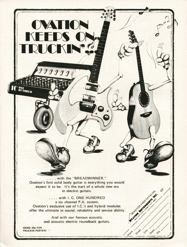 Ovation advertisement (1972) Ovation keeps on truckin