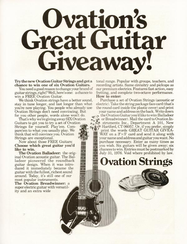 Ovation advertisement (1976) Ovation