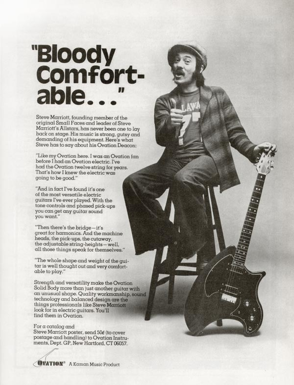 Ovation advertisement (1976) Bloody comfortable
