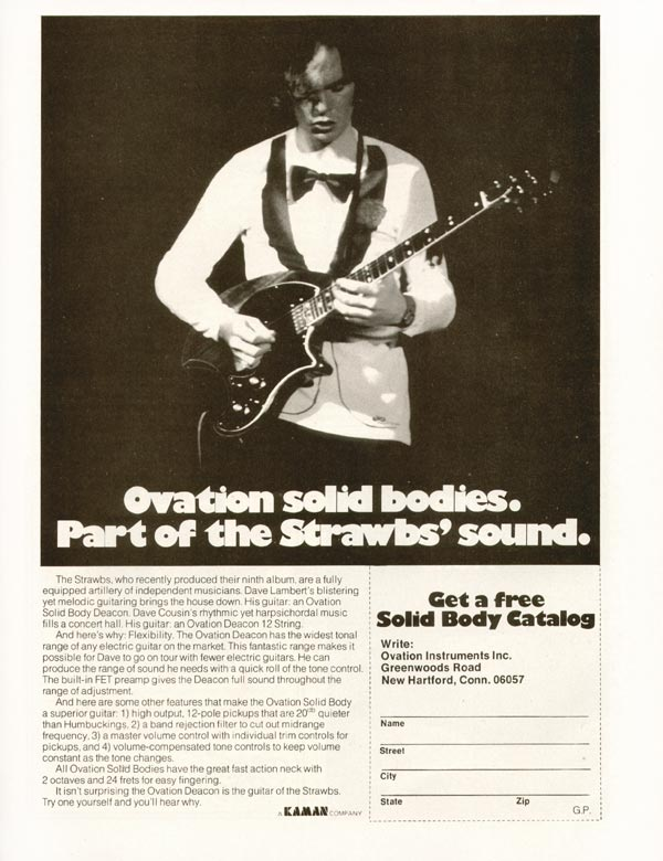 Ovation advertisement (1976) Ovation solid bodies. Part of the Strawbs
