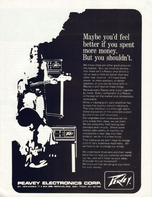 Peavey advertisement (1972) Maybe Youll Fell Better If You Spent More Money. But You Shouldnt.