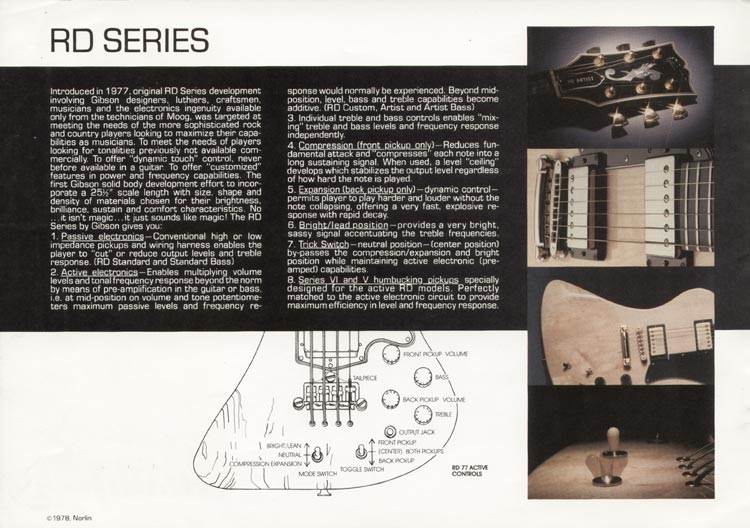 1978 Gibson RD guitar and bass catalogue page 2 - introduction to the RD series guitars