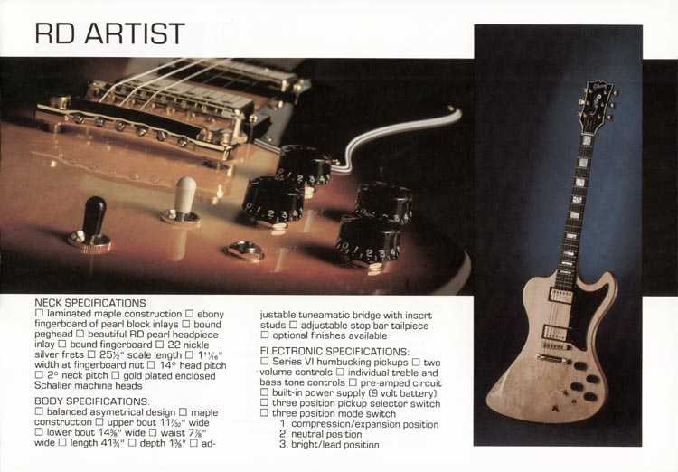 1978 Gibson RD guitar and bass catalogue page 3 - The RD Artist guitar