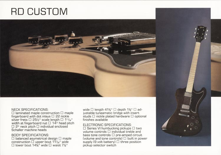 1978 Gibson RD guitar and bass catalogue page 4 - details of the Gibson RD Custom guitar
