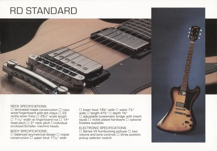 1978 Gibson RD guitar and bass catalogue page 5 - details of the Gibson RD Standard guitar
