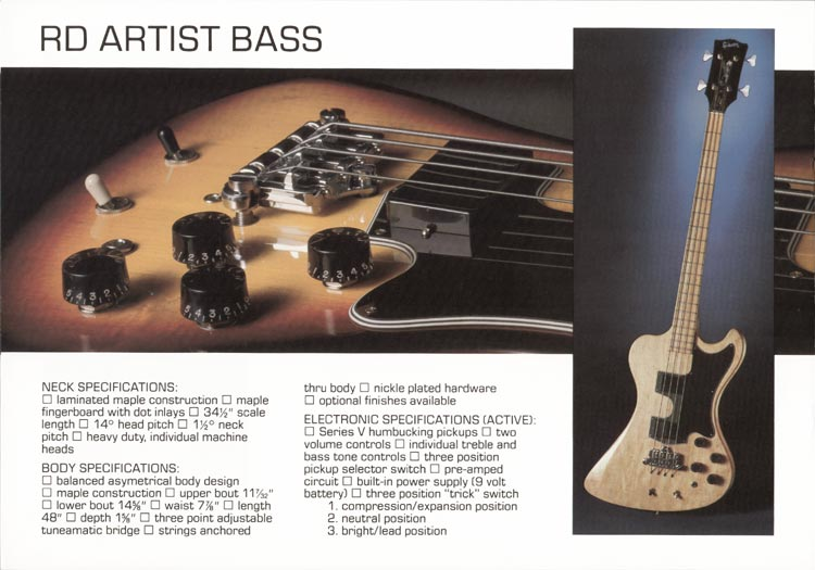 1978 Gibson RD guitar and bass catalogue page 6 - details of the Gibson RD Artist bass