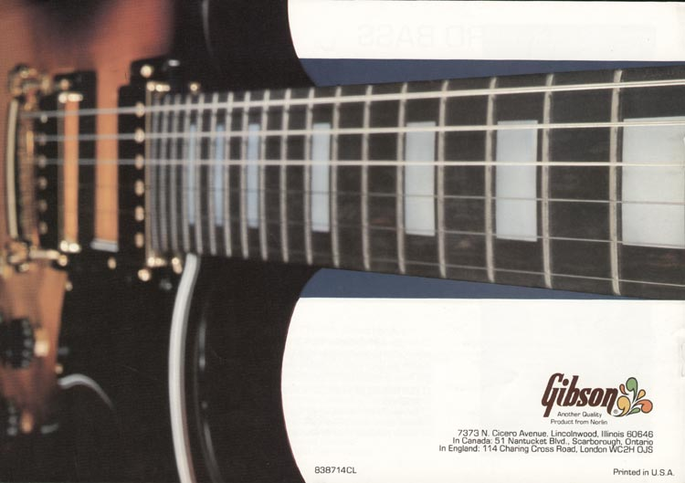 1978 Gibson RD guitar and bass catalogue page 8 - back cover