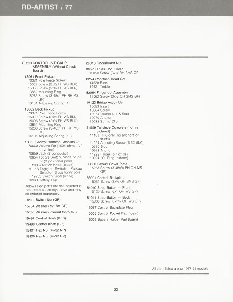 Gibson RD Artist (RD77) parts list