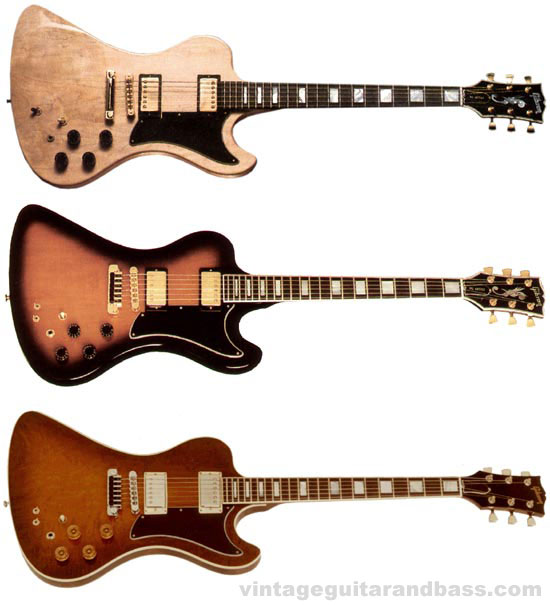 The three versions of the Gibson RD artist. Top: the RD 77, middle: the RD 79, bottom the RD CMT